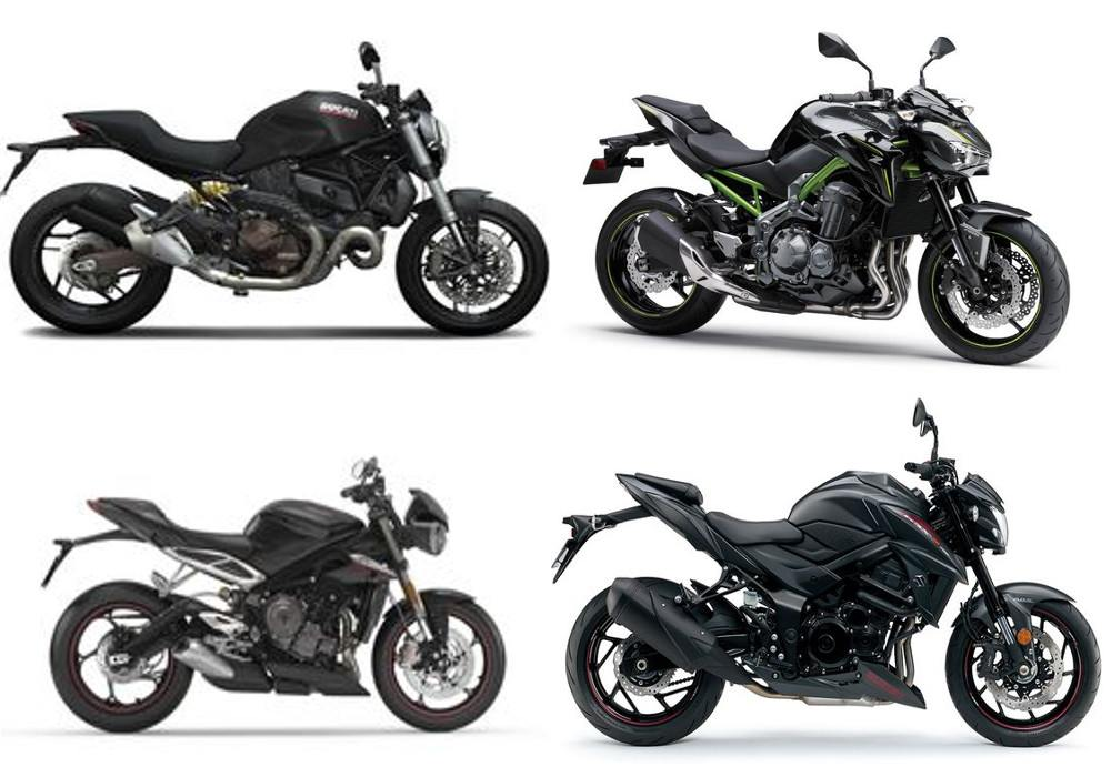 Grand comparison of Suzuki GSXS 750, Ducati Monster 821, Kawasaki Z900 and Triumph Street Triple 765 S