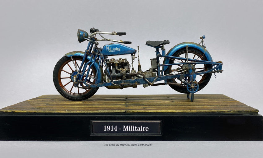 1/16th scale of by 1914 – Militaire motorcycle by Raphael Truffi Bortholuzzi